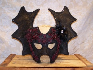 Nocturnal Bat mask with vintage black lace overlay, beaded appliques and crystals