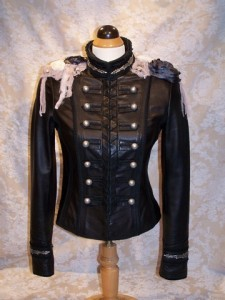 Dark Side - Front Black leather military jacket with skull applique, roses, studs and pearls
